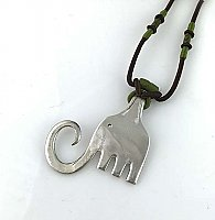 Repurposed Fork Elephant Necklace, Brown Cord