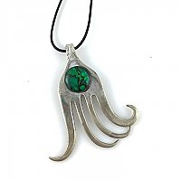 Repurposed Fork Pendant with Green Glass