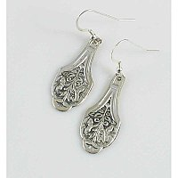 """Claudia"" Pattern Silverplate Earrings - Repurposed Flatware"