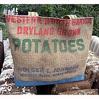 Vintage Burlap Potato Sack Tote- Dryland Grown Potatoes