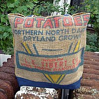 Vintage Burlap Potato Sack Tote- Northern North Dakota