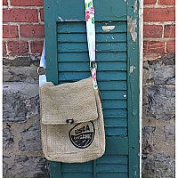 Repurposed Burlap Coffee Bean Bag Crossbody