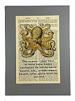 Repurposed Antique Dictionary Page Wall Decor - Octopus - Family Quote