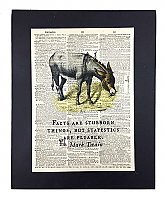 Repurposed Antique Dictionary Page Wall Decor - Donkey- Mark Twain- Facts are stubborn things