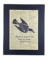 Repurposed Antique Dictionary Page Wall Decor - Bird- Truman Capote- Home is where you feel at home