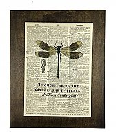 Repurposed Antique Dictionary Page Wall Decor  - Dragonfly- Shakespeare- She is fierce