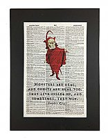 "Repurposed Antique Dictionary Page Wall Decor  - Devil - Stephen King Quote - ""Monsters Are Real"""