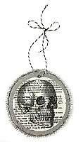 Vintage Dictionary Page Recycled into Holiday Ornament - Skull - Merry Effing Christmas