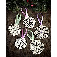 Antique Repurposed Crochet Doily Holiday Ornament - Pastels