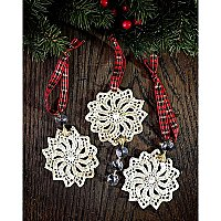 Antique Repurposed Crochet Doily Holiday Ornament - Crystals