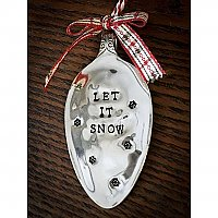 Vintage Silverplate Spoon Holiday Ornament - Let It Snow