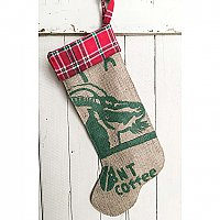 Repurposed Burlap Coffee Bag Holiday Stocking with Plaid Flannel - Red and Green with Goat