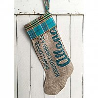 "Repurposed Burlap Coffee Bag Holiday Stocking with Plaid Flannel - Teal and Purple ""Allana"" Indian Coffee Robusta Cherry"