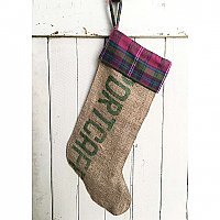 "Repurposed Burlap Coffee Bag Holiday Stocking with Plaid Flannel - Purple and Green ""Portcafe"""
