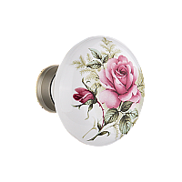 White Rose Porcelain Door Knob Pair