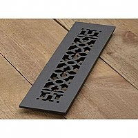 "Scroll Design Cast Iron Heat Grate or Register, 2-1/4"" x 14"""