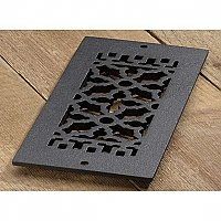 "Scroll Design Cast Iron Heat Grate or Register, 4"" x 12"""