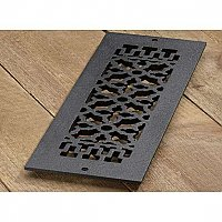 "Scroll Design Cast Iron Heat Grate or Register, 4"" x 14"""