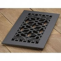 "Scroll Design Cast Iron Heat Grate or Register, 6"" x 14"""