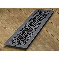 "Scroll Design Cast Iron Heat Grate or Register, 6"" x 30"""