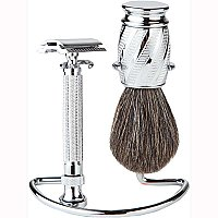 Safety Razor Shaving Set - Chrome 3 Piece Set