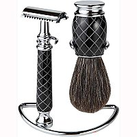 Safety Razor Shaving Set - Black & Chrome 3 Piece Set