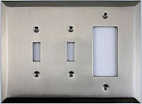 Jumbo Oversized Satin Nickel Stamped Double Toggle / GFCI Switchplate / Cover Plate