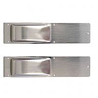 Swinging Door Hinge Trim Plates Only, Satin Nickel