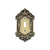 Solid Brass Victorian Switchplate - Antique Brass - Single Toggle