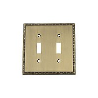 Solid Brass Egg & Dart Switchplate - Antique Brass - Double Toggle