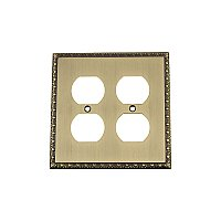 Solid Brass Egg & Dart Switchplate - Antique Brass - Double Duplex