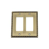 Solid Brass Egg & Dart Switchplate - Antique Brass - Double GFCI