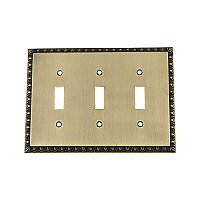 Solid Brass Egg & Dart Switchplate - Antique Brass - Triple Toggle