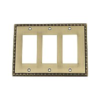 Solid Brass Egg & Dart Switchplate - Antique Brass - Triple GFCI