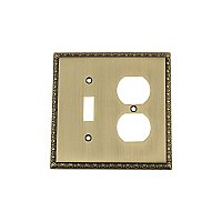 Solid Brass Egg & Dart Switchplate - Antique Brass - Duplex/Toggle