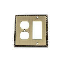 Solid Brass Egg & Dart Switchplate - Antique Brass - Duplex/GFCI