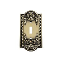 Solid Brass Meadows Switchplate - Antique Brass - Single Toggle