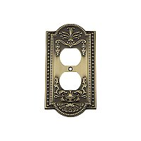 Solid Brass Meadows Switchplate - Antique Brass - Single Duplex