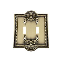 Solid Brass Meadows Switchplate - Antique Brass - Double Toggle
