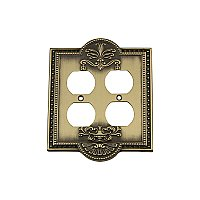 Solid Brass Meadows Switchplate - Antique Brass - Double Duplex