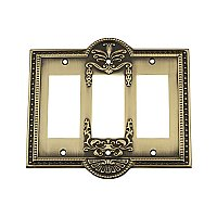 Solid Brass Meadows Switchplate - Antique Brass - Triple GFCI