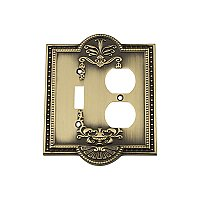 Solid Brass Meadows Switchplate - Antique Brass - Duplex/Toggle
