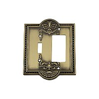 Solid Brass Meadows Switchplate - Antique Brass - GFCI/Toggle