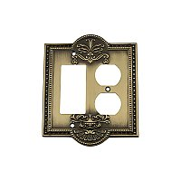 Solid Brass Meadows Switchplate - Antique Brass - Duplex/GFCI