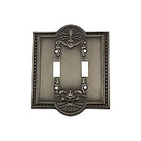 Solid Brass Meadows Switchplate - Antique Pewter - Double Toggle