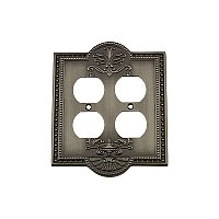 Solid Brass Meadows Switchplate - Antique Pewter - Double Duplex