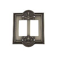 Solid Brass Meadows Switchplate - Antique Pewter - Double GFCI
