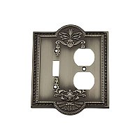 Solid Brass Meadows Switchplate - Antique Pewter - Duplex/Toggle