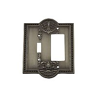 Solid Brass Meadows Switchplate - Antique Pewter - GFCI/Toggle