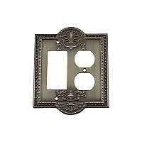 Solid Brass Meadows Switchplate - Antique Pewter - Duplex/GFCI
